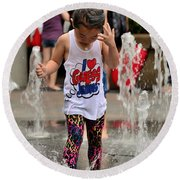 Girl Child Plays With Water At Fountain Singapore Round Beach Towel