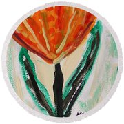 Round Beach Towel featuring the painting Girl-flowers From The Flower Patch by Mary Carol Williams