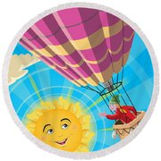 Girl In A Balloon Greeting A Happy Sun Round Beach Towel
