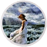 Girl In A Cotton Field Round Beach Towel