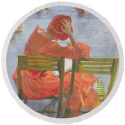 Girl In A Red Dress Reading By A Swimming Pool Round Beach Towel
