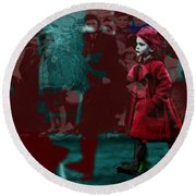 Girl In The Blood-stained Coat Round Beach Towel by Seth Weaver
