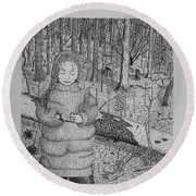 Girl In The Forest Round Beach Towel by Daniel Reed