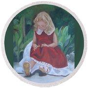 Girl In The Garden Round Beach Towel