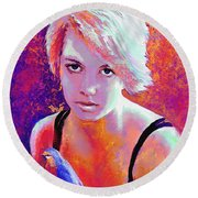 Round Beach Towel featuring the digital art Girl On Fire by Jane Schnetlage