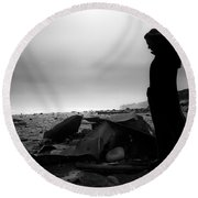 Girl On The Beach Round Beach Towel