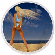 Girl On The Beach... Round Beach Towel