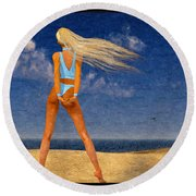 Girl On The Beach...watercolor Effected Round Beach Towel