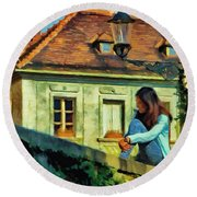 Round Beach Towel featuring the painting Girl Posing On Stone Wall by Jeff Kolker