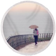 Girl Walking With Umbrella Round Beach Towel