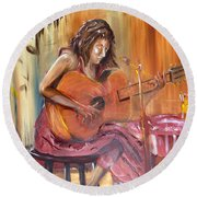 Girl With A Guitar Round Beach Towel