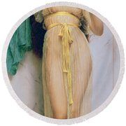 Girl With A Mirror Round Beach Towel