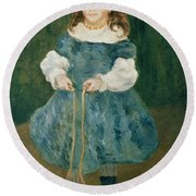 Girl With A Skipping Rope, 1876 Oil On Canvas Round Beach Towel