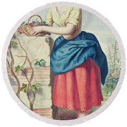 Girl With Basket Of Grapes Round Beach Towel