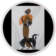 Round Beach Towel featuring the painting Girl With Orange Fur by Nora Shepley