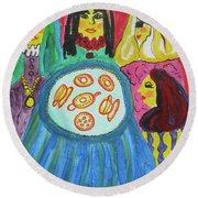 Round Beach Towel featuring the painting Girlfriends by Diane Pape
