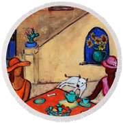 Round Beach Towel featuring the painting Girlfriends' Teatime II by Xueling Zou