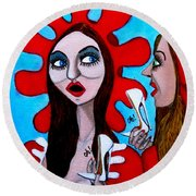 Round Beach Towel featuring the painting Countrygirls Amazed By A Pair Of Stilettos by Don Pedro De Gracia