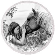 Girls And Their Horses Round Beach Towel by Eleanor Abramson