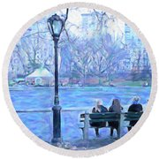 Girls At Pond In Central Park Round Beach Towel