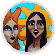Round Beach Towel featuring the painting Girls Caught In Fraganti by Don Pedro De Gracia