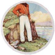 Giuseppe Garibaldi On A Cliff-ledge Round Beach Towel