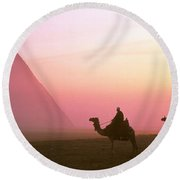 Giza Pyramids Egypt Round Beach Towel by Panoramic Images