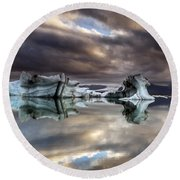 Glacier In Water Round Beach Towel