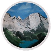 Round Beach Towel featuring the painting Glacier Lake by Sharon Duguay