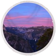 Glacier Point With Sunset And Moonrise Round Beach Towel