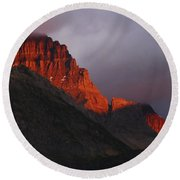 Round Beach Towel featuring the photograph Glacier Sunrise by Alan Socolik