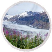 Glacier With Fireweeds Round Beach Towel