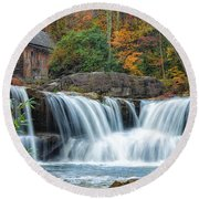 Glade Creek Grist Mill And Waterfalls Round Beach Towel