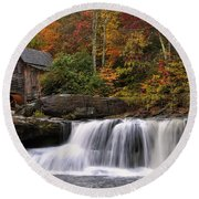 Glade Creek Grist Mill - Photo Round Beach Towel by Chris Flees