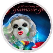 Glamour Girl-3 Round Beach Towel
