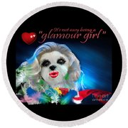 Round Beach Towel featuring the digital art Glamour Girl-3 by Kathy Tarochione