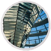 Glass Dome Reichstag Berlin Germany Round Beach Towel by Panoramic Images