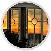 Glass Doors Aglow Round Beach Towel
