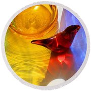 Glass Reflections #8 Round Beach Towel