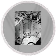 Glasses And Crystal Vases By Walter D Teague Round Beach Towel