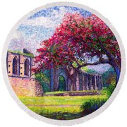 Round Beach Towel featuring the painting Glastonbury Abbey Blossom by Jane Small
