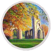 Round Beach Towel featuring the painting Glastonbury Abbey Fall by Jane Small