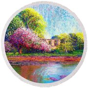 Round Beach Towel featuring the painting Glastonbury Abbey Lily Pool by Jane Small