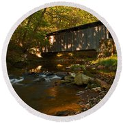 Glen Hope Covered Bridge Round Beach Towel