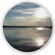 Glenmore Reservoir Calm Round Beach Towel by Stuart Turnbull