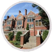 Glensheen Mansion Exterior Round Beach Towel by Amanda Stadther