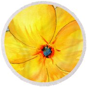 Round Beach Towel featuring the painting Glicee Cyan-a-floral by Clayton Bruster