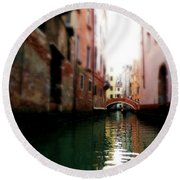 Gliding Along The Canal  Round Beach Towel