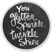Glitter Sparkle Twinkle Round Beach Towel