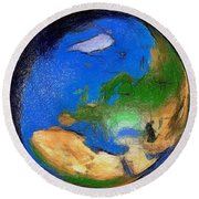 Round Beach Towel featuring the painting Globe 3d Picture by Georgi Dimitrov